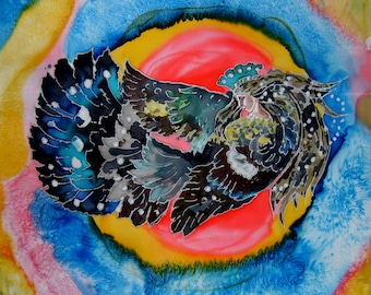 Silk Original batik handpainted  The Bird of Happiness.