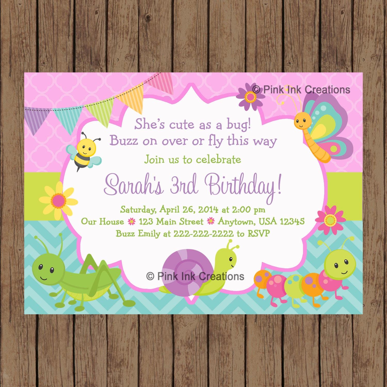 CUTE as a BUG Birthday Invitation / Garden Birthday Invitation