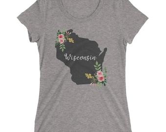 Wisconsin State Shirt - Milwaukee Madison Green Bay Tee - Home State Watercolor Flower - Womens Short Sleeve Shirt
