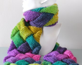Multicoloured Entrelac Scarf - Purple Green Knitted Diagonal Basketweave Chunky Pink Yellow Acrylic Wool Gift for Her by Emma Dickie Design