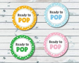Ready To Pop Tags, Ready To Pop Printable Stickers, Ready To Pop Labels, Printable Baby Shower Favor Tags, Instant Download