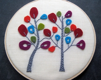 "Trees in Bloom by mlmxoxo.  hand embroidered. wool felt. home decor. housewarming gift. wedding gift. fiber art.  8"" embroidered hoop art."