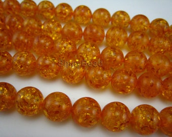 synthetic amber round bead 8mm 15 inch strand