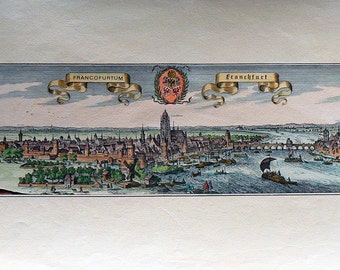 City - Frankfurt/Germany - Cm. 69 x 32 Inches 27,3 x 12,5 - Printed on high quality paper and water-coloured by hand. Since 1940s