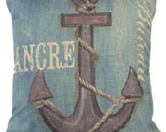 Anchor Nordic Ship Anchre Canvas Throw Pillow 17-inch - Anchre 17 x 17  Cotton Linen