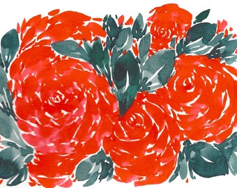 Red Rose Floral Abstract Original WATERCOLOR Painting