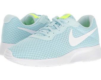 ... sale custom bling womens nike tanjun glacier blue white swarovski  crystal bling sneakers running 4872a ef2db 10e1d9b36