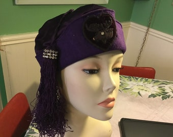 Fezzes for ferals cat rescue charity fundraiser vintage purple wool and satin Royal Order of the Moose fez or tah