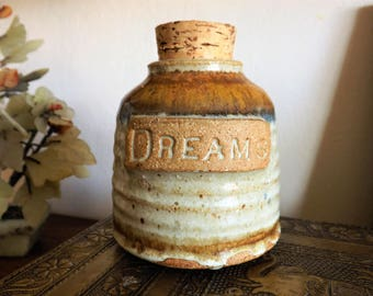 "Vintage Glazed  Pottery ""Dreams"" Jar with Cork Lid"