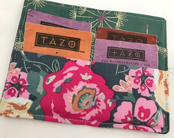 Tea Wallet Tea Bag Wallet Tea Bag Case Tea Bag Holder - Green Tea Holder Tea Bag Cozy Tea Bag Organizer Garden Rocket in Bachelorette
