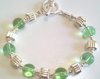 Cool Spring Green and Silver Beaded Bracelet, Colorful Statement Bracelet, Glass Bead Jewelry, Bold Green Bracelet