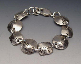 Recycled Silver Dimes Circle Dot Square Dot Bracelet made from Vintage American Coins