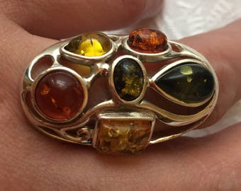 Amber stone silver ring / T55
