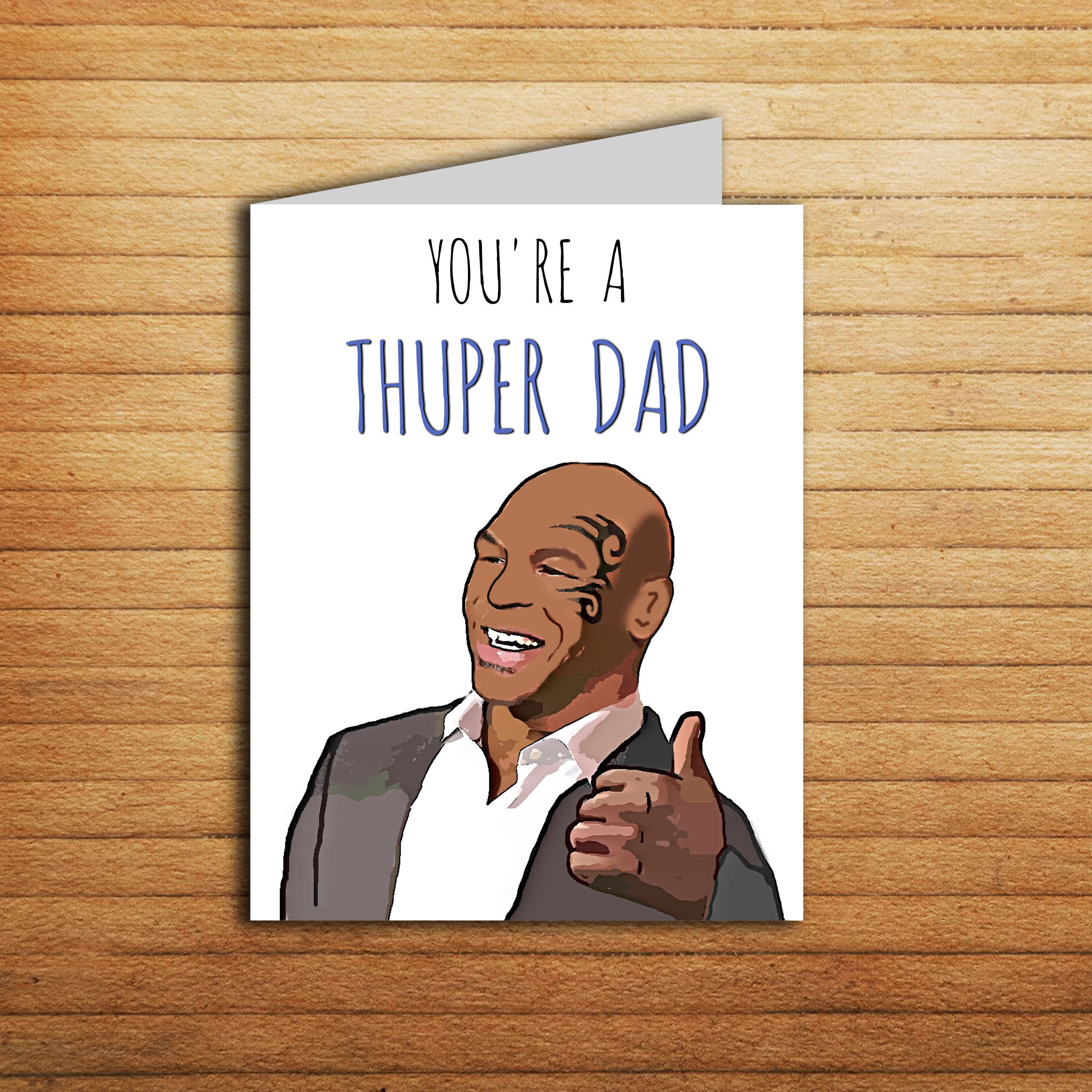 Mike Tyson Card Funny Fathers Day Card Printable Super Dad