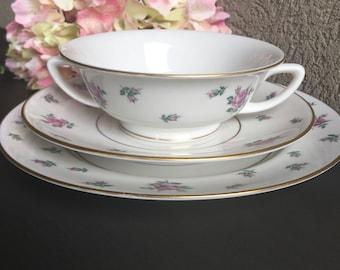 China Cream Soup Royal Jackson Rambler Rose Bowl / Underplate / Salad Plate Vintage Pink Floral Set - #H1049