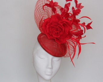 Red Kentucky Derby Hat,  Royal Ascot Hat, Derby Hat, Race Day Hat