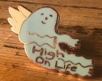 HIGH ON LIFE Hard Enamel Pin - Hipster Quotes Positive Affirmation Inspiration Motivation Affirmations Mantra Word Words Soft