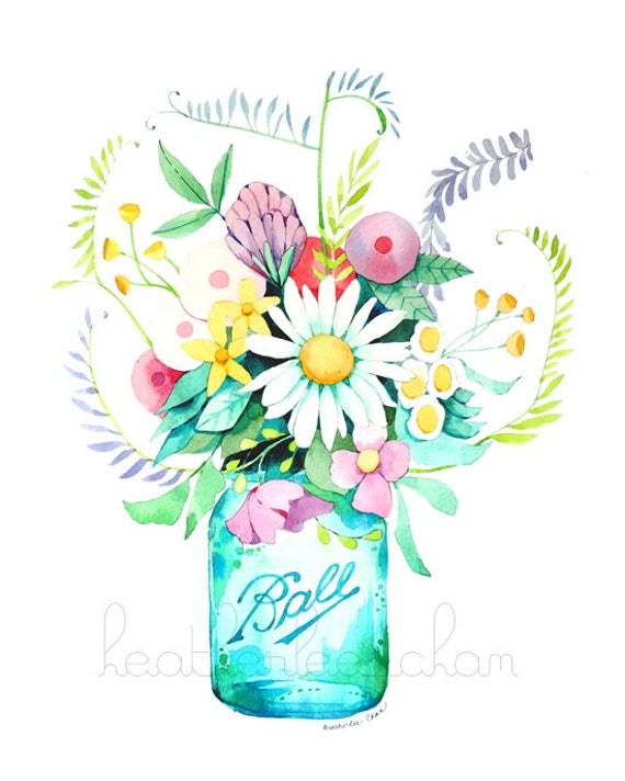 Mason Jar and Flowers Painting Watercolor Print