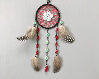 """3"""" Black, Red, White, and Turquoise Dream Catcher - holiday gift, wall hanging, home decor"""
