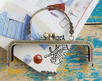 20cm(7.87inch) antique bronze sewing metal purse bag frame A263-antique bronze