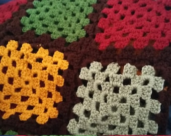 Hand Crocheted Queen/King Size Granny Square Afghan