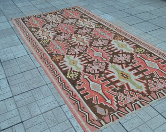 Large Kilim rug. Turkish vintage kilim. Pink kilim rug. Turkish carpet. Free shipping. 10.9 x 5.6 feet.