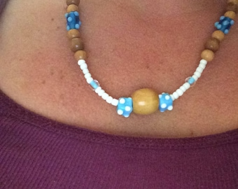 Blue/white/clear wood and glass necklace
