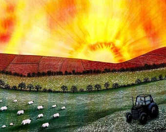 """Art Print: """"Greeting the dawn""""- A4 landscape print, sheep print, wall art, country scene, sunrise, rural art,from a painting by Liz Clarke"""