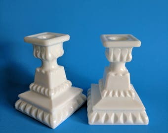 Vintage Westmoreland Milk Glass Candle Holders - Candlestick Holders