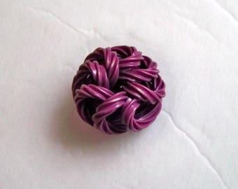 Purple Extruded Noodle Button - Vintage Celluloid