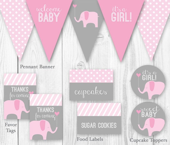 Items Similar To Elephant Baby Shower Package Pink Gray Diy