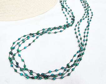 Bead Necklace - Multi Strand 4mm Chrysocolla Bead Long Necklace
