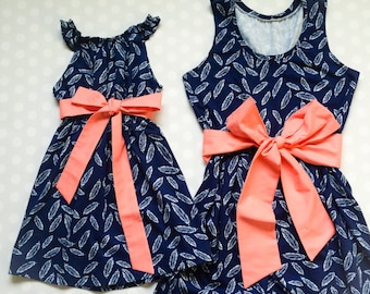 Mommy and Me Dresses - Mommy and Me Set - Mommy and Me Outfits - Mother Daughter Matching Dresses - Mothers Day - Mothers Day Gift - Feather