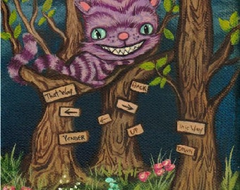The Cheshire Cat Print Cute Alice in Wonderland Forest Fairy Tale Wall Art Cheshire Forest