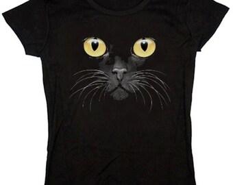 Ladies T-shirt / Yellow Eyed Cat