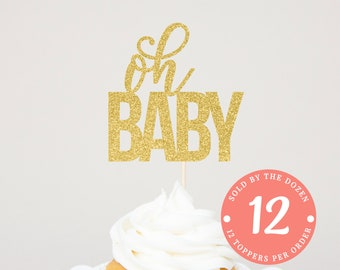 Oh Baby Cupcake Topper | Baby Announcement | Oh Baby Sign | Gender Reveal Party | Gender Reveal Cupcake Toppers | Pregnancy Reveal
