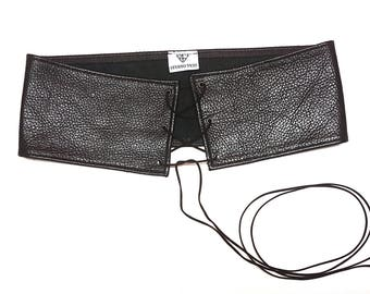 Lace up belt leather