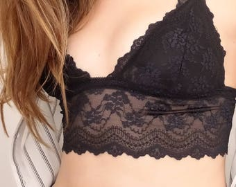 Elly Black Cropped Long Line Lace Triangle Bralette Padded - Made To Order