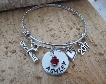 Graduation bracelet, Graduation gift, 2018 Graduation, bangle bracelet, Charm bracelet, birthstone bracelet, Gift for teen, College Grad