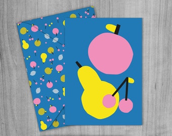 Apples & Pears Greetings Card, Envelope and Wrapping paper Pack. A4 Printable digital download.