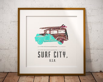 VW Beach Map Print, Huntington Beach Map, Surf City USA Map Art, Travel Gift, Birthday Gift Art, Wedding Gift, Beach Map Art