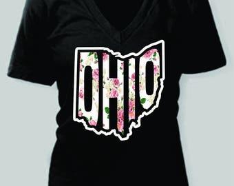 Floral OHIO women's Tshirt