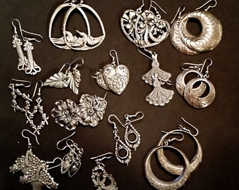 15 pair of pewter earrings with sterling wires