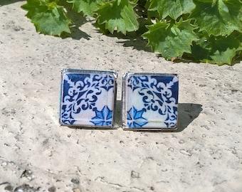 Portugal antique tiles, Lisbon streets tiles, tile stud earrings, Bertrand tiles, Portuguese tiles, azulejos, Portugal, Portuguese jewelry