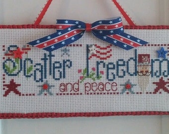 "Finished Cross Stitch ""Scatter Freedom"""