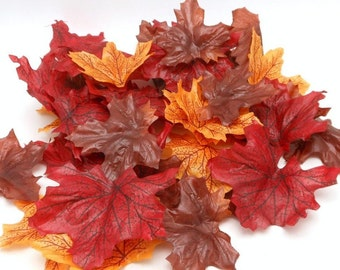 Artificial Autumn Leaves - Decorative Fall Leaves in Dark Colors - 100 Pieces