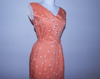 Vintage 50s peaches and cream polka dot assymetrical deco button day dress m
