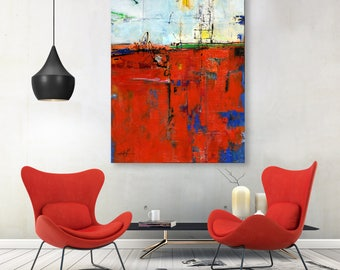 """Large Abstract Painting, Textured Mixed Media 40x30  red, black,Contemporary art """"Beyond Dreams"""" by Kathy Morton Stanion EBSQ"""