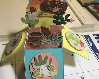 3D Southwestern (blank) Explosion Card with envelope.