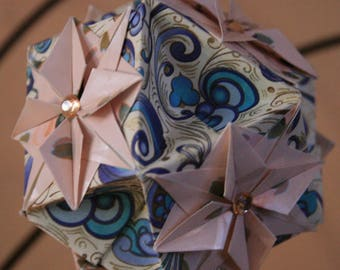 Origami Kusudama Paper Ball Pink Blue Compass Star Hanging Ornament